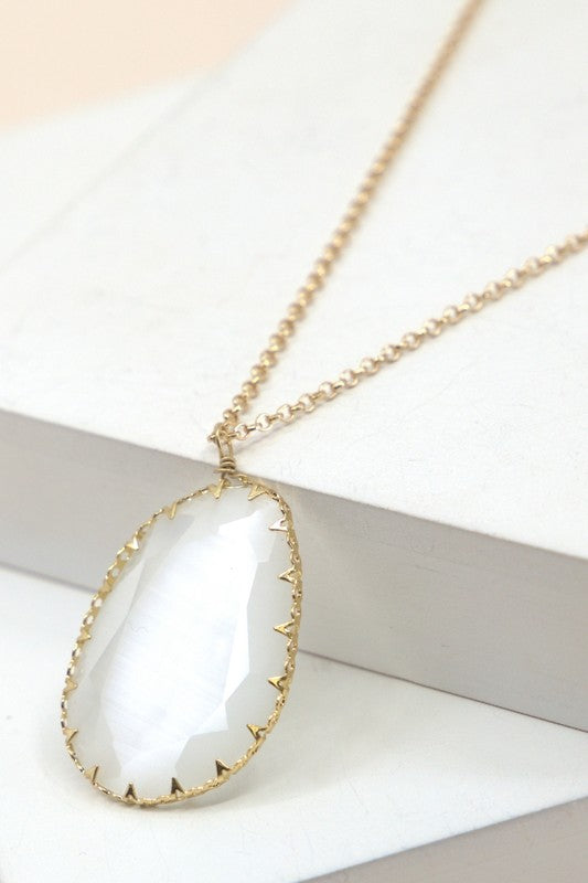 Natural Stone Tear Drop Necklace
