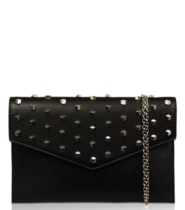 Solid Colored Clutch With Stud Accents