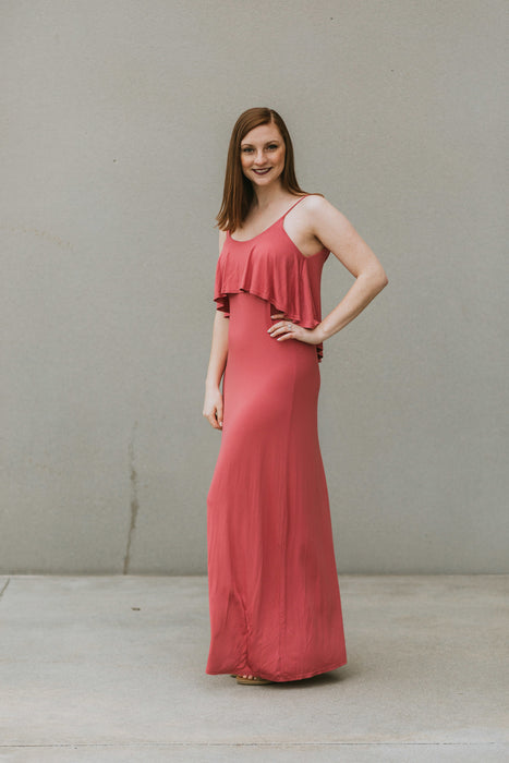 Mauve Ruffle Maxi Dress