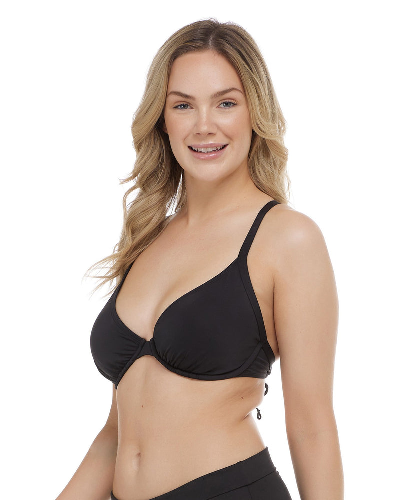 Hilary D, DD, E & F Cup Top - BLACK