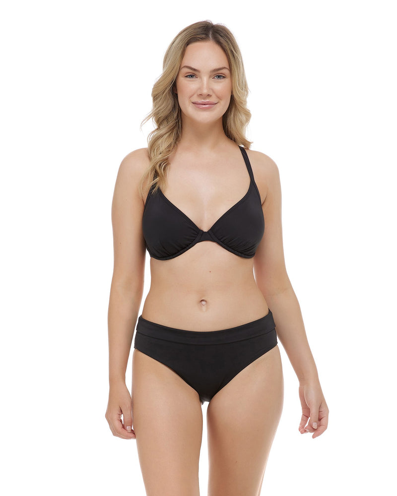 Mid Waist Fold Over Bottom - BLACK