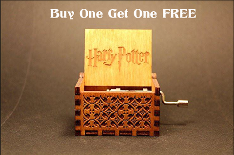 Hand Crafted HP Engraved Wooden Music Box [Buy 1 Get 1 Free]
