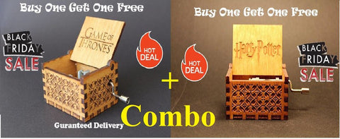 Hp & GOT ComBo Engraved Wooden Music Box [Buy 1 Get 1 Free]
