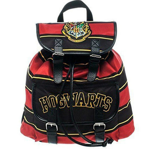 New Harry Potter Backpack Hogwarts School Bag Crest Striped Canvas Shoulder Bags (Color: Multicolor)