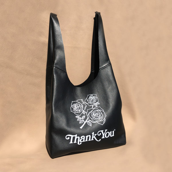 ROSES | BLK LEATHER | GRATITUDE BAG