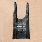 Black Thank You | Leather Gratitude Grocery Bags