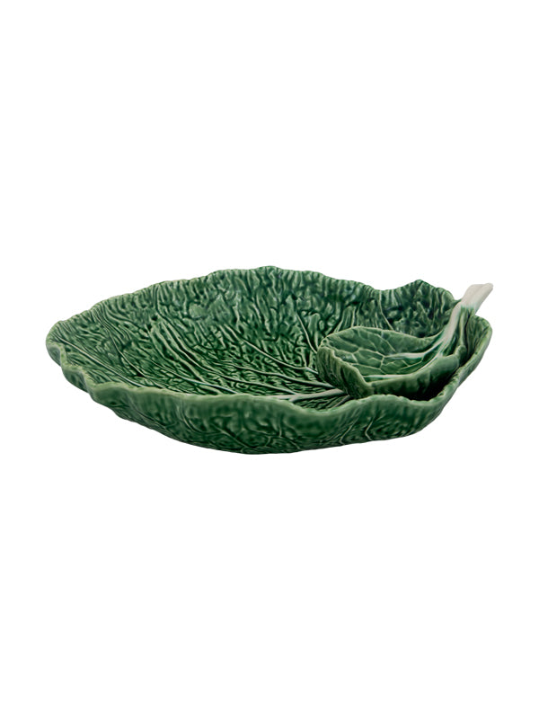 Bordallo Pinheiro Cabbage Leaf with Bowl Chip and Dip 34 Natural Platter