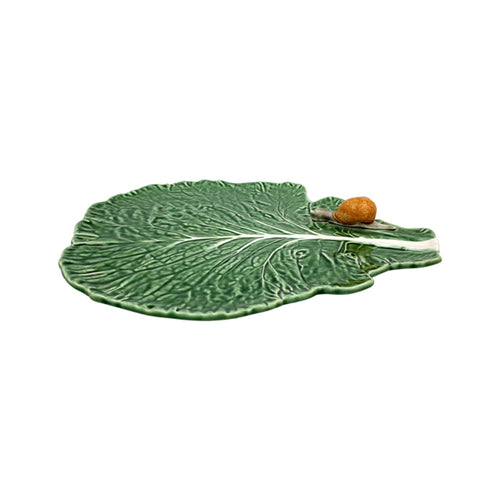 Bordallo Pinheiro Cabbage Leaf With Snail Cheese Tray