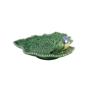 Bordallo Pinheiro Ragwort Leaf 19 With Blue Bird Platter