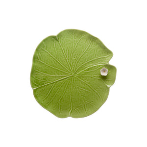 Bordallo Pinheiro Leaf With Flower 32 Green/White Platter