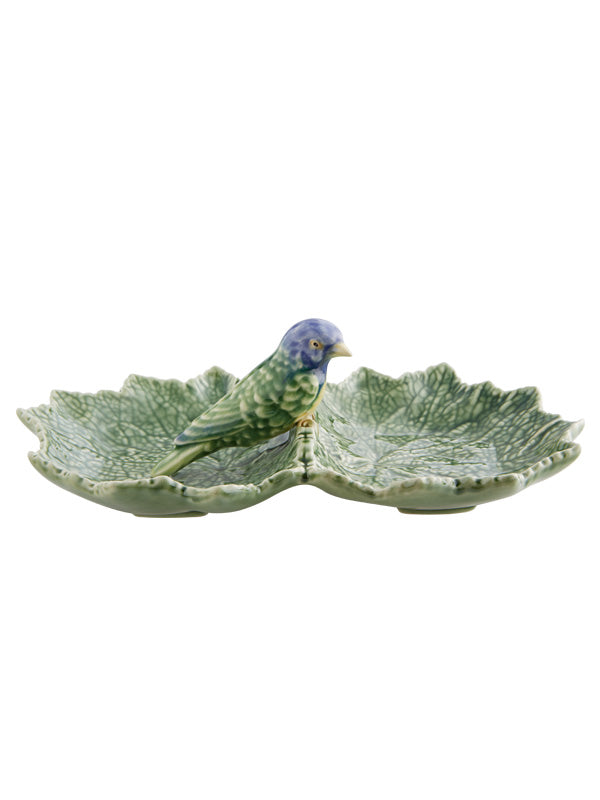 Bordallo Pinheiro Cinerária Double Leaf 22 with Blue Bird Olive Dish