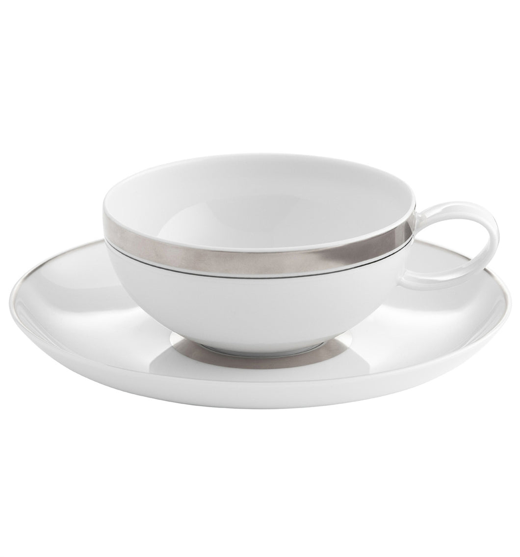Vista Alegre Domo Platinium Porcelain Tea Cup & Saucer - Set of 4