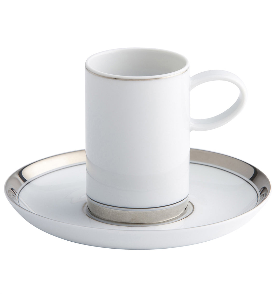 Vista Alegre Domo Platinium Porcelain Coffee Cup & Saucer - Set of 4
