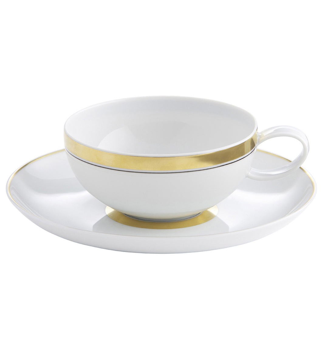 Vista Alegre Domo Gold Porcelain Tea Cup & Saucer - Set of 4