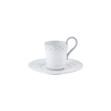 Bordallo Pinheiro Rua Nova Espresso Coffee Cup and Saucer Antique White - Set of 4