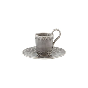 Bordallo Pinheiro Rua Nova Espresso Coffee Cup and Saucer Anthracite - Set of 4