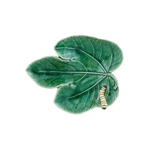 Bordallo Pinheiro Fig Leaf With Caterpillar Platter