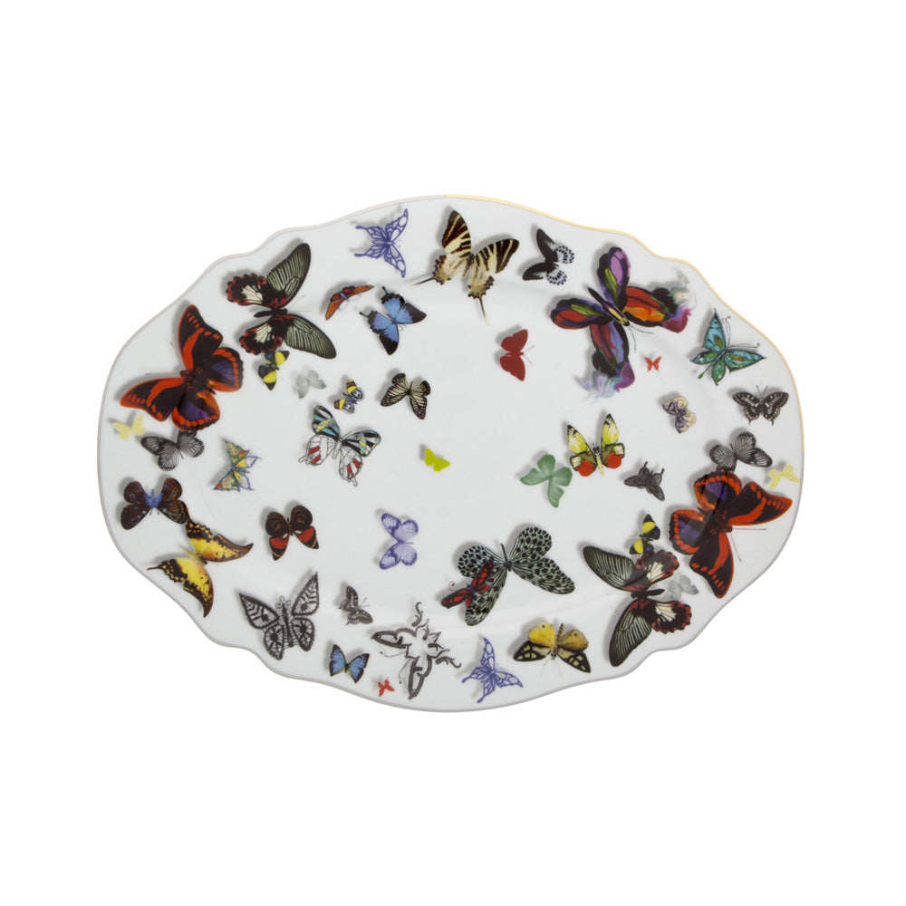 Vista Alegre Porcelain Butterfly Parade Small Oval Platter By Christian Lacroix