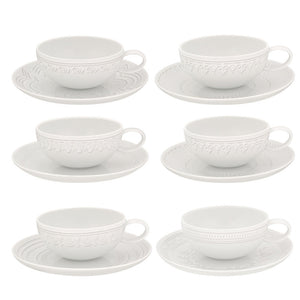 Vista Alegre Porcelain Ornament Set Of 6 Tea Cups & Saucers