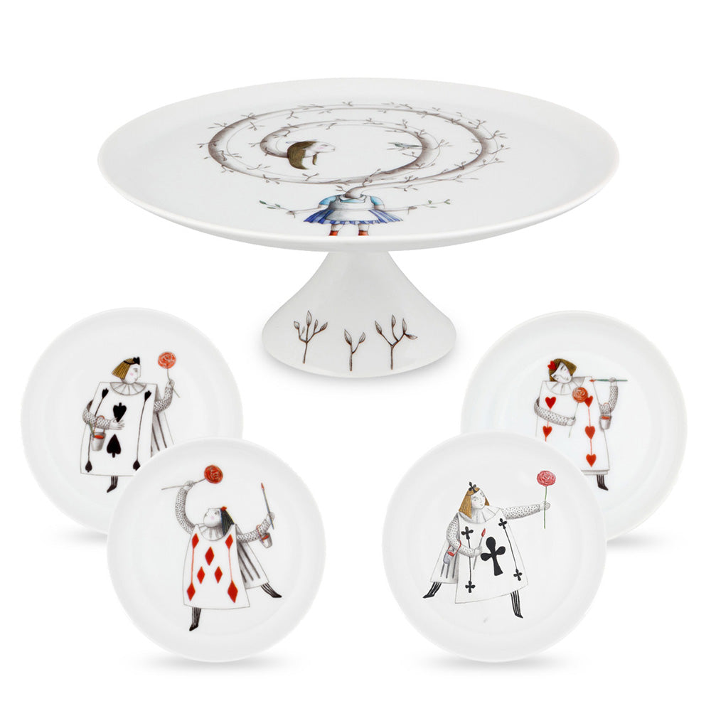 Vista Alegre Porcelain Tea With Alice Set Small Cake Stand & 4 Plates