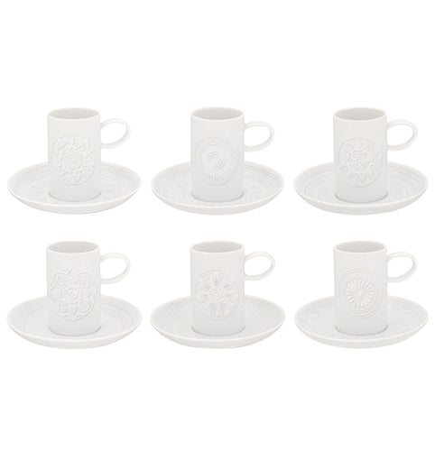Vista Alegre Porcelain Ornament Set Of 6 Coffee Cups & Saucers