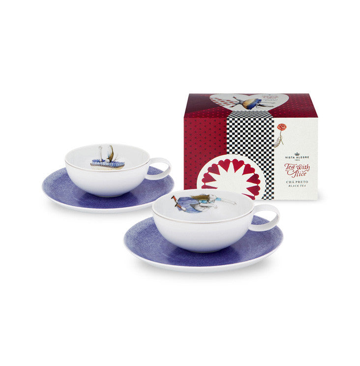 Vista Alegre Porcelain Tea With Alice Set 2 Teacups and Saucers and Tea Package