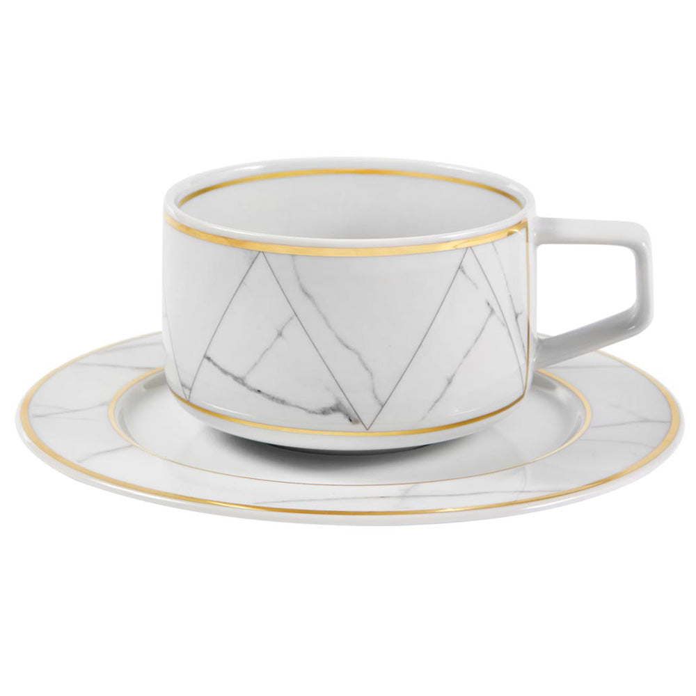 Vista Alegre Porcelain Carrara Tea Cup & Saucer - Set of 4