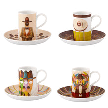Load image into Gallery viewer, Vista Alegre Porcelain Pessoa Gonçalo Viana Set 4 Coffee Cups and Saucers