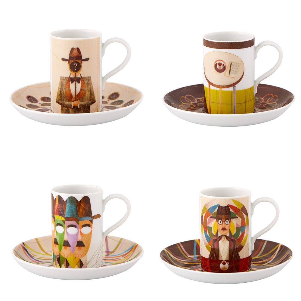 Vista Alegre Porcelain Pessoa Gonçalo Viana Set 4 Coffee Cups and Saucers