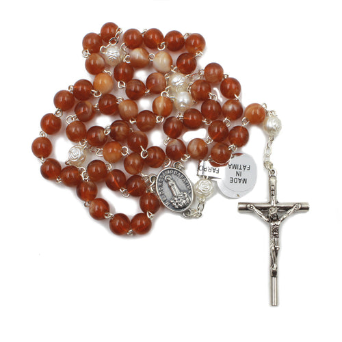 Glass Beads Catholic Our Lady of Fatima Rosary Handmade in Portugal