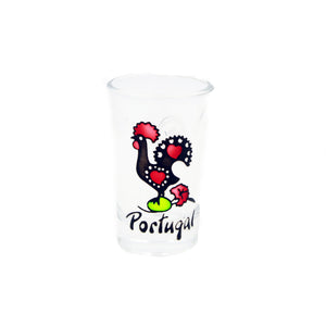 Traditional Portuguese Rooster Glass Shot Souvenir - Set of 2