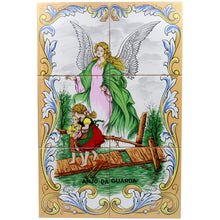Load image into Gallery viewer, Guardian Angel Portuguese Ceramic Tile Art Wall Panel Mural Decor