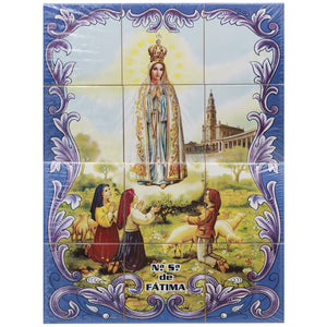 Our Lady of Fatima Apparition Portuguese Ceramic Tile Art Wall Panel Mural Decor