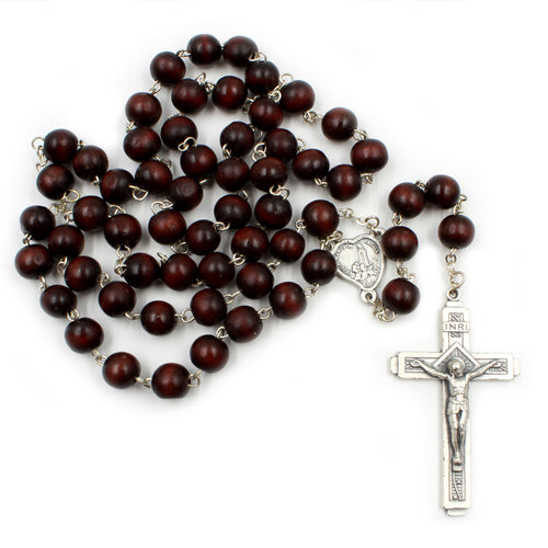 25 Inches Handmade Wooden Beads Our Lady of Fatima Rosary
