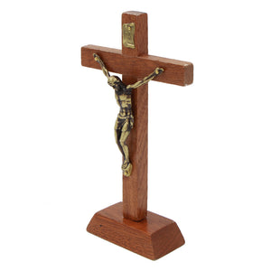 "6"" Wooden Altar Crucifix With Stand"