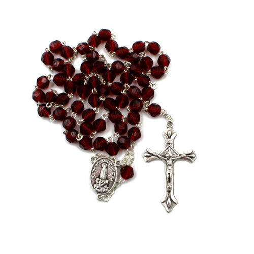 Ruby Red Faceted Plastic Beads Catholic Our Lady of Fatima Rosary