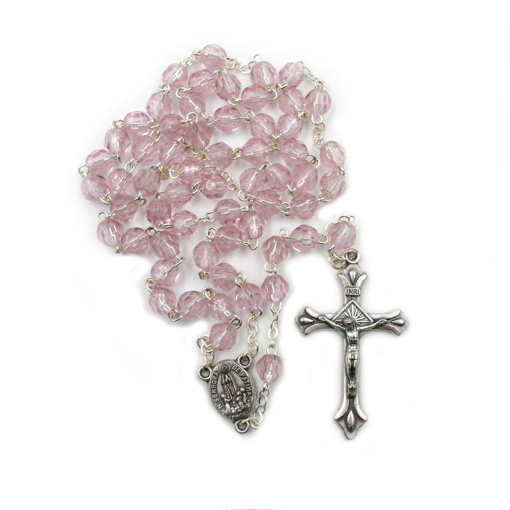 Light Pink Faceted Plastic Beads Catholic Our Lady of Fatima Rosary
