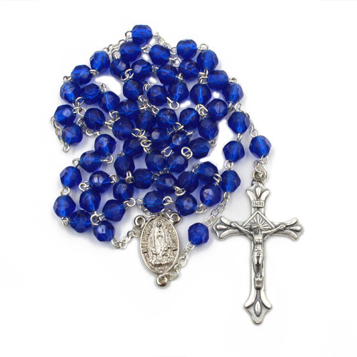 Navy Blue Faceted Plastic Beads Catholic Our Lady of Fatima Rosary