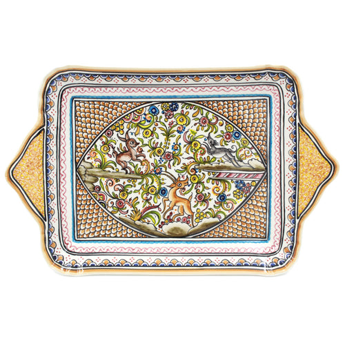 Coimbra Ceramics Hand-painted Decorative Tray with Handles XVII Cent Replica #214-2