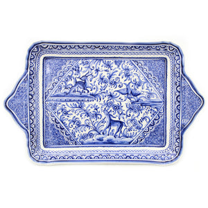 Coimbra Ceramics Hand-painted Decorative Tray with Handles XVII Cent Replica #214-5