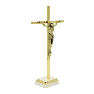 "8.5"" Metallic Altar Golden Crucifix With Stand"