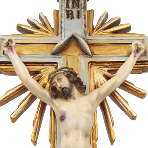 "25"" Inch Resin Carved Wall Crucifix Jesus Christ Cross"