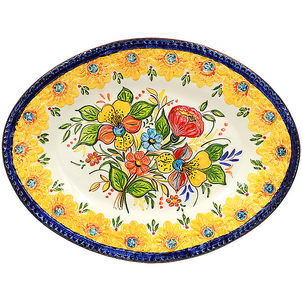 Hand-painted Portuguese Pottery Clay Terracotta Serving Platter