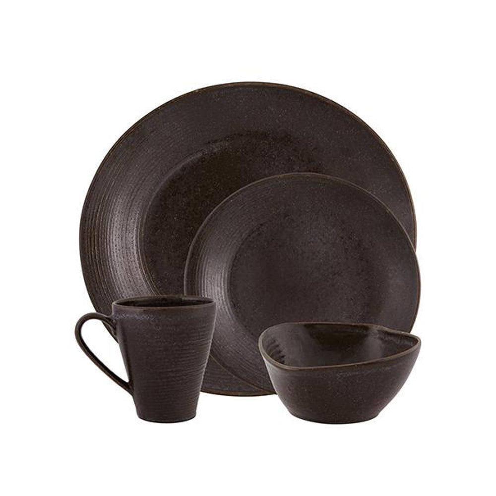 Casa Alegre Bronze Stoneware 16 Pieces Place Setting Dinnerware Set