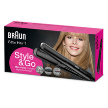 Load image into Gallery viewer, Braun ST100 Hair Straightener Flat Iron Satin Hair 1 Style & Go Mini Styler  120/240 Volts