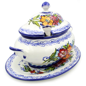 Hand-painted Traditional Portuguese Pottery Ceramic Tureen #535