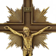 "Load image into Gallery viewer, Large 15"" Metallic Altar Crucifix With Stand"