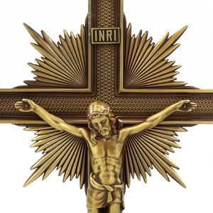 "Large 15"" Metallic Altar Crucifix With Stand"