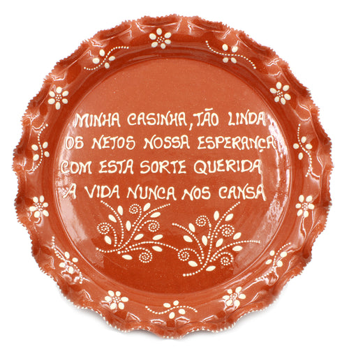 Hand-painted Portuguese Terracotta Decorative Plate With Traditional Sayings #8659