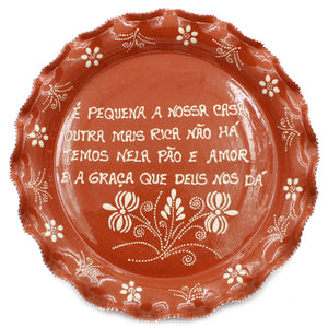 Hand-painted Portuguese Terracotta Decorative Plate With Traditional Sayings #8703